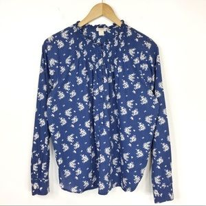 J. Crew popover shirt blue white floral print